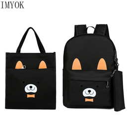 $enCountryForm.capitalKeyWord Australia - 2019 New Cartoon Children School Bags 3pcs set Cute bear Printing Kids Backpacks Comfort Canvas Backpacks Girls School Bags