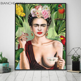 $enCountryForm.capitalKeyWord Australia - Affinity Nature Head Flower Woman and Bird Abstract Color Canvas Poster Wall Art Print Painting Nordic Picture Living Room Decor