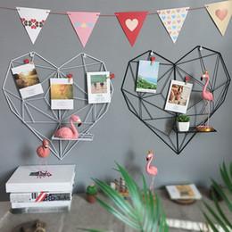 $enCountryForm.capitalKeyWord Australia - Love Heart Shaped Iron Storage Rack Wall Hanging Photos Postcard Metal Grids Storage Holder