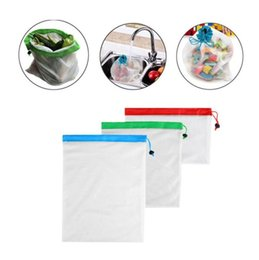 eco friendly plastic shopping bag NZ - Reusable produce mesh shopping bags eco-friendly mesh vegetable fruit toys storage pouch hand totes home storage bag