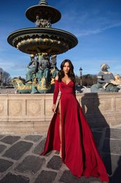 special jersey Canada - Sexy Burgundy Off Shoulder Long Sleeve Prom Dresses Two Side Front Split A Line Evening Gown Special Occasion Dresses