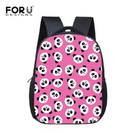 for nursery bags Canada - FORUDESIGNS Pink Animal Panda School Bags for Student Kids Cool Boys Girls Bookbags Small Zoo Print Nursery Schoolbags