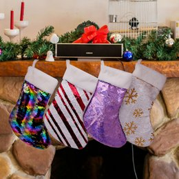 Santa decorated chriStmaS treeS online shopping - Reversible Sequin Christmas stocking mermaid paillette socks gift bags decorated Xmas stockings pendant Santa Claus candy bags LJJA3544