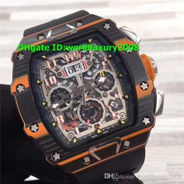 Luxury Watches Oversize Australia - Swiss 011-03 Oversize Mens Watch Automatic McLaren Flyback Black & Orange Forged Carbon Skeleton Dial Rubber Strap Sport Wristwatch