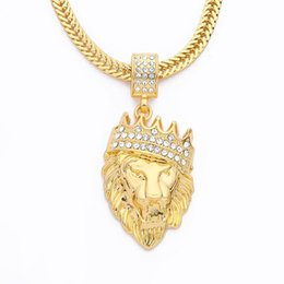 Lion pendant chains online shopping - Iced Out Chain Rhinestone An crown Lion Tag Necklace Hip hop Cuban Chain Necklace Gold Jewelry Bling Hip Hop Jewelry