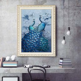 $enCountryForm.capitalKeyWord Australia - 1pcs DIY 5D Diamond Painting Kits Embroidery Blue Peacock Cross Stitch kits living room mosaic pattern Home Decor 30*40cm