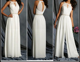 Wholesale sexy jumpsuits for party resale online – 2019 New Arrival Chiffon Jumpsuit Floor Length Crystal Sash Elegant For Evening Party Custom Made Cloth