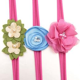 Wholesale nylons flower resale online - Baby girls Flower designer headband Set Kids nylon hair band Children Rhinestone Headwear Boutique Newborn hair accessories TurbanC6881