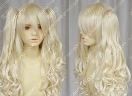blonde mix ponytail UK - HOT Free Shipping >>> Vocaloid   seeU light blonde cosplay long curly wig + 2 clip on ponytail g52