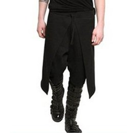 Wholesale black lace trousers for sale – dress Mens Jogger Elastic Waist Casual Long Harlan Pants Baggy Solid Lace up Patchwork Black Long Trousers Pantalon Plus Size