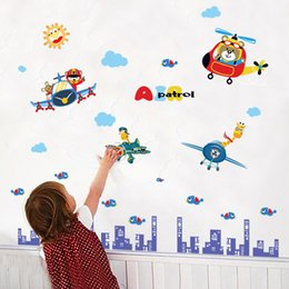 Wall Stickers For Classrooms Australia - Animal pilot children's room cupboard kindergarten classroom entrance decoration wall stickers