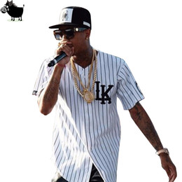 Tyga Clothes Australia - Man Si Tun Summer Style Mens Tees Fashion Streetwear Hip Hop Baseball Jersey Striped Shirt Men Clothes Tyga Last Kings Clothing Q190518