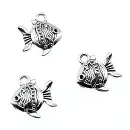 $enCountryForm.capitalKeyWord Australia - 100pcs Charm Tropical Fish Sea Fish Pendant Charms For Jewelry Making Antique Silver Tropical Fish Charms 15x14x4mm