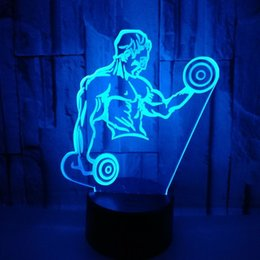 $enCountryForm.capitalKeyWord Australia - Heat Sell Muscle Male 3d Small Night-light Dumbbell Bodybuilding Colorful Touch Remote Control Led Vision Lamp Gift 3d Desk Lamp