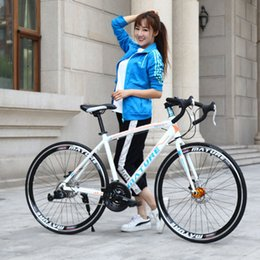 racing alloy NZ - Road bike 21 30 33 speed ultra light aluminum alloy double disc brakes variable speed bicycle bend student bicycle racing bike