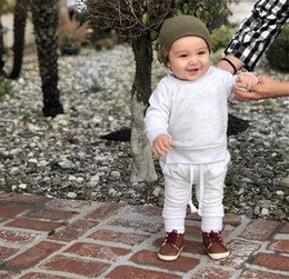 Double breast vest online shopping - Autumn Spring INS Newest Infant Toddler Baby Kids Boyls Girls Clothing Suits Blank Cotton Sweatshirts with Straps Pants pieces Suits