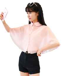 sing rosa al por mayor-Chiffon Women Turn Down Collar Sing Button Mujer ver a través de Cape Sweet Pink Black White One Size Wrap Koran Chiffon Feminina