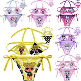 Swimwear Infant Australia - Baby Girls Surprise Doll Swimwear Top+Briefs Kids Summer Cartoon Bikini 2pcs Sets Infant Beach Clothing Suits 7 Colors