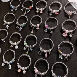 Pandora rhinestone silver charms online shopping - New DIY European Beads Pandora Crystal stainless steel Charm Bracelets For Women Royal Crown Beads butterfly heart sunflower tree House star