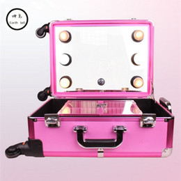 making light box Australia - KUNDUI profelssional makeup beauty Lighting Rolling Luggage travel trolley light make up case bag suitcase box