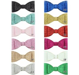 Layers Hair NZ - 12 colors Small Shinny Bling Double layer Bowknot With Whole Wrapped Safety Hair Clips Kids Boutique Hair Accessories Hairpins 867