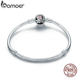 $enCountryForm.capitalKeyWord Australia - Bamoer Authentic 925 Sterling Silver Poetic Daisy Cherry Blossom Mixed Enamels & Clear Cz Snake Chain Bracelet Jewelry Pas919 J190625