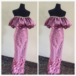 Strapless Champagne Lace Sheath Dress Australia - Ankara Aso Ebi 2019 Lace Beaded Evening Dresses Strapless Sheath Hand Made Flowers Prom Dresses Sexy Formal Party Bridesmaid Gowns