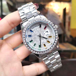 colorful diamonds watches Australia - Swiss Brand High Quality Men Watches Iced Out Colorful Diamond Dial Quartz Movement Watch for Men Date Gold Watch Montre De Luxe