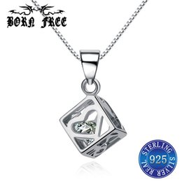 $enCountryForm.capitalKeyWord Australia - zircon heart magic cube pendant necklace silver 925 femme mujer pendant locket pendentif jewelry bijoux en argent 925 colgantes