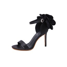 $enCountryForm.capitalKeyWord Canada - Summer new large flower sandals for women 2019 one button buckle high heel satin black high heels shoes woman .LX-084