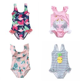 604bfb199ef81 9 Styles 2019 kids swimwear cartoons Unicorn Floral girl swimming bikini bathing  suits One-Pieces children piece swim suit Kids Swimsuits