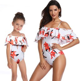 Matching Mommy Girl Clothes NZ - 2019 Sexy Off Shoulder Flounced Bikinis Family Matching Outfits Mommy and Me Swimwear Baby Girl Beachwear Clothes Mother Daughter Swimsuit