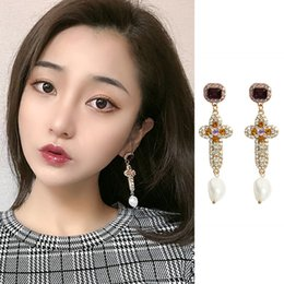 $enCountryForm.capitalKeyWord Australia - 2019 New Vintage Luxury Colorful Full Crystal Cross Dangle Earrings For Women Elegant Pearl Girl Party Jewelry Gifts