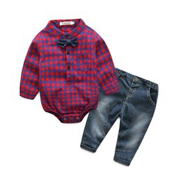 Crimson Ties Australia - Korean plaid long-sleeved shirt bow-tie jeans boy suit two sets of foreign trade sources