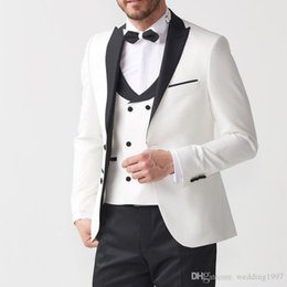 Three Piece Suit Styles Australia - Three Piece Groom Tuxedos for Wedding Evening Party Men Suits Ivory and Black Blazer Formal Latest Style Jacket Pants Vest