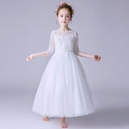 019ea79cea 2019 new hot flower girl white lace wedding dress girls autumn and winter  models white long embroidered printing party dress wholesale