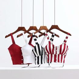 Discount camisole corset - Stripe Push Up Bralet Women's Corset Bustier Bra Night Club Party Cropped Top Vest Short Tops Summer Camisole Beach