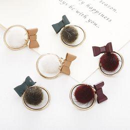 $enCountryForm.capitalKeyWord Australia - Bow earrings soft sister plush ball earrings three colors optional simple wild hair ball earrings