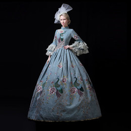 4082796bc0c63 100%real pale blue peacock vintage luxury rococo queen court ball gown  Medieval dress Renaissance gown Victorian Belle Ball