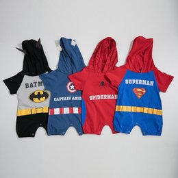 $enCountryForm.capitalKeyWord Australia - Fall INS Baby Boys Hooded Rompers Cartton Designs Cotton Soft Fabric Short Sleeve Newborn Jumpsuits with Hood Baby Boys Bodysuits 0-2T