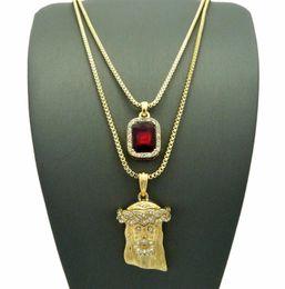Ruby Charms Australia - Gold HIPHOP Jesus Square Ruby Pendant Charm Chain Necklace Jewelry 2 PCS Necklace Set Rapper Accessories