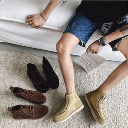 Fashionable Flat shoes laces online shopping - New style men s boots leisure Martin boots Korean version of high help men s shoes fashionable short boots and bare boots