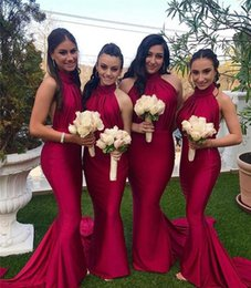 Long Red Bridesmaid Dresses Plus Size Australia - Red Long Bridesmaid Dress 2019 Cheap Halter Neck Summer Country Garden Formal Wedding Party Guest Maid of Honor Gown Plus Size Custom Made