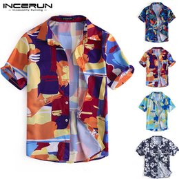 d6d9784e Summer Fashion Men Hawaiian Shirt Colorful Print Lapel Neck Short Sleeve  Blouse Tops Men Beach Casual Shirts Camisa 2019 INCERUN