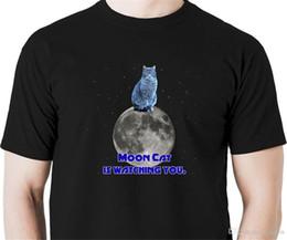 Kitten Shirts Australia - 2018 Latest Fashion Moon cat is watching you t shirt funny kitten feline meow pet High Quality Top Tees