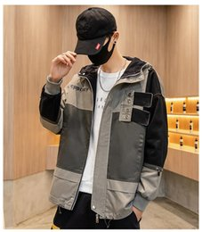 Discount fashion menswear jacket Mens Jackets Loose Casual Urban Menswear Fashion Popular Male Outerwear Comfortable Keep Warm Contrast Color Hooded