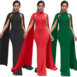 540bd0fb13d Alienwing wing bat sleeve evening dress African national style solid color  high waist slim fishtail dress