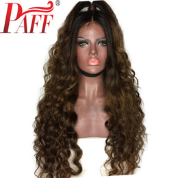 ombre full lace wigs Australia - PAFF Ombre Full Lace Human Hair Wigs Loose Wave Peruvian Remy Hair Wig Two Tone Dark Brown Color with Baby Hair