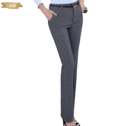ladies trouser designs Australia - Plus Size Trousers Formal Adjustable Pants For Women Office Lady Style Work Wear Straight Belt Business Design
