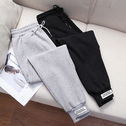 Wholesale female elastic trousers for sale – dress Women s Sport Pants Female Casual Wild Sweatpants Ladies Harlan Long Trousers Winter Thicken Women Loose Lace up Elastic Waist